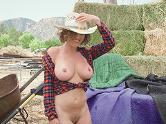 Rancher girl Krissy Lynn spreading and having her pussy dicked