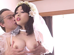 First wedding night with Mao Hamasaki in stockings gets nasty