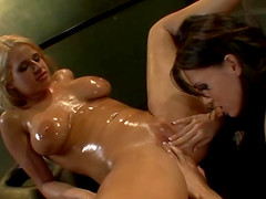 Jennifer Dark and Madison James enjoy a slippery lesbian game