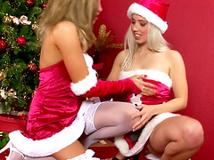 Kady and Kissy are Santa's sluts who love playing with sex tyos