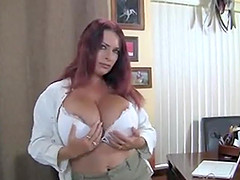 British mature redhead with huge tits masturbates at work