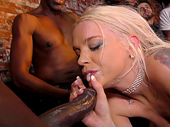 Hardcore interracial gangbang with nasty blonde Barber Bae