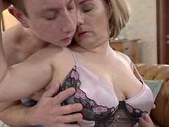 Grabbing the tits of Mimi Jean passionately and drilling her twat