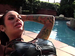 Two dicks drilling the pierced pussy of lusty Angelina Valentine