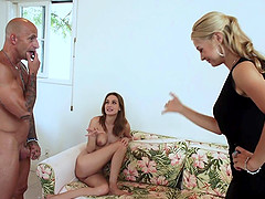 Amazing Sarah Vandella in a threesome with a stunning nympho
