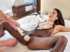Amazing brunette in fishnets getting fucked hard by Adrian Hush