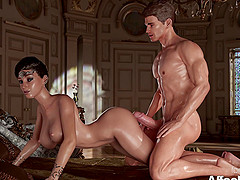 Horny 3D Princess giving blowjob to his big-cock prince