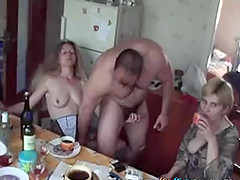 French girls get fucking on the kitchen counter with their boyfriend
