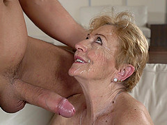 Horny granny Malya gets her wet pussy filled with a long fat cock