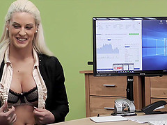 Agent gives blonde some money for on-line shop with lingeri