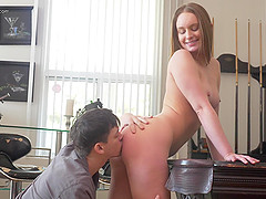 Daisy Stone moans loudly while a friend bangs her from behind