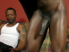 Black gay guys pound each others asses on the couch