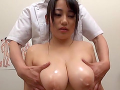 Busty Japanese hottie gets her firm boobs massaged by a friend