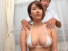 Beautiful Japanese girl likes when he massages her boobs