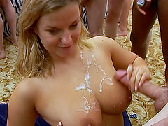 Sandie and Sams gangbang and cumshot party fun