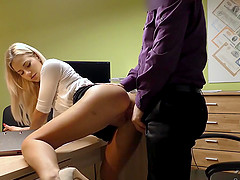 Hot chick Nathaly fucked hard in order to pay for her debts