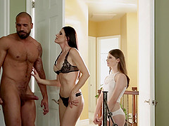 Riding a stiff dick together makes India Summer and her friend happy