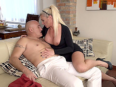 Busty mature amateur blonde MILF Krista E. fucked doggy style