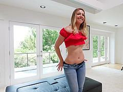 Blonde teen babe Akkara sucks and rides a cock on a casting couch