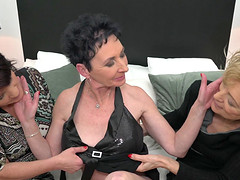 Mature lesbian threesome in the office with Elana S. and her colleagues