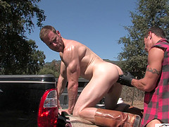 Ginger gay dude gets his ass pounded by a pierced big dick