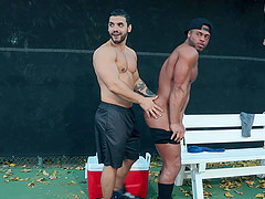 Buffed black dude pounded outdoors in public by a gay Latino