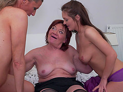 Hardcore mature lesbian threesome with Dasha and her friends
