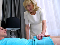 Youngster lover enjoys blowjob and great fun with well aged granny
