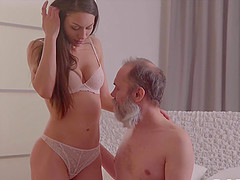 Grey-haired dad seduces adorable GF of his son for hot sex