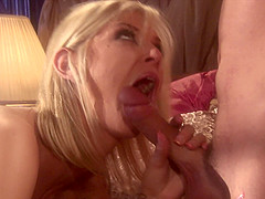 Blonde slut Brooke Banner receives a big pecker in various positions