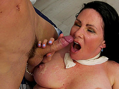 Mature Alexandra Silk makes him cover her big tits with sperm