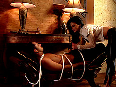 Tied up dude gets used and exploited by Aletta Ocean