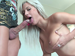 Tattooed MILF babe Miss Stacy screams from a huge cock deep inside her