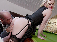 Blonde mature slut Ash Hollywood sucks and fucks two cocks