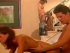 Hot brown-haired babe gets fucked in acrobatic poses