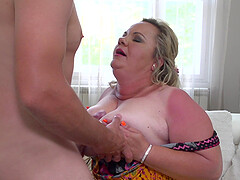 Blonde mature buxom amateur BBW Summer fucked after a titjob