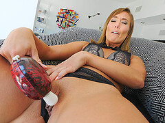 Christy masturbates with a vibrator in underwear at home