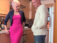 Mature short haired granny Lady Sextacy pounded doggy style hardcore