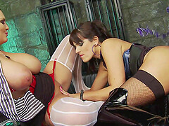 Busty Jasmine Black and Valery Summer share a fat dick at a prison