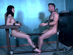 Petite goth slave Charlotte Sartre tortured by two cocks and toys