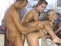 Bisexual Guys Fucking a Hot Blonde... And Themselves!