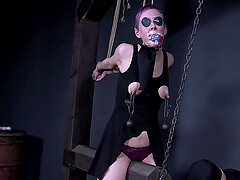 Sierra Cirque tied up and tortured in a dress wearing glasses