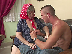 Blonde mature BBW granny sprayed with cum after a hardcore fuck