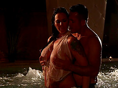 Simony Diamond seduces a guy at the bar and fucks him in the pool