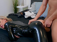 Leather fetish MILF Brandi Love doggy style pounded hardcore