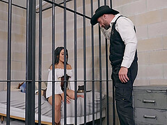 Curvy MILF slut Lela Star rides cock to get out of prison