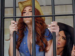 Prison lesbians Lela Star and Molly Stewart give each other orgasms