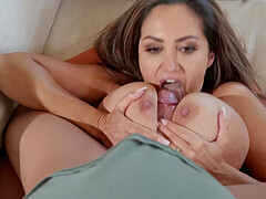 Buxom MILF in underwear Ava Addams takes cock in ass and cum on tits