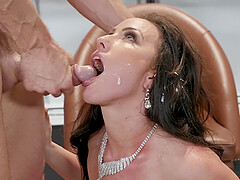 Long haired natural brunette Jennifer White gets a facial after doggy