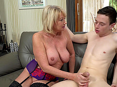 Amateur mature blonde Milf Amy filled with younger dick and cum